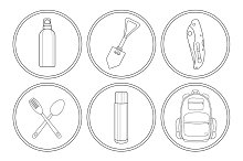 Camping. 6 linear icons. Vector