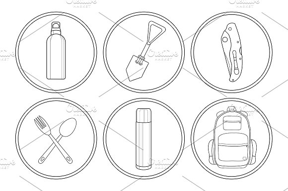 Camping. 6 linear icons. Vector - Icons