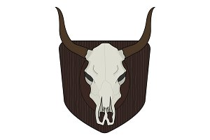 Cow skull on wood shield. Vector