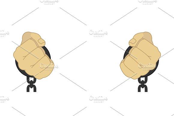 Hands in steel handcuffs. Vector - Illustrations
