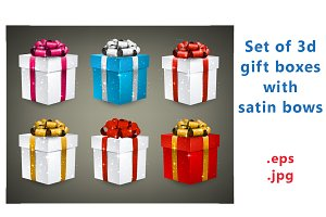 Set of sparkling gift boxes with bow
