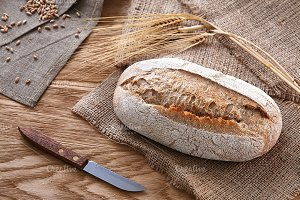 Bread on a wooden background
