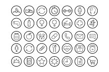 Fitness. 35 linear icons. Vector