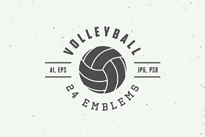 Set of vintage volleyball emblems
