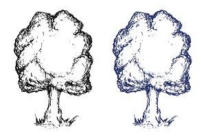 Hand drawn sketch tree. Vector