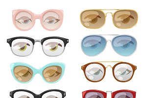 Glasses human eye vector set