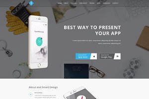 I One Page App Landing PSD Theme
