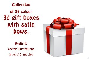 Set of 36 gift boxes with satin bows