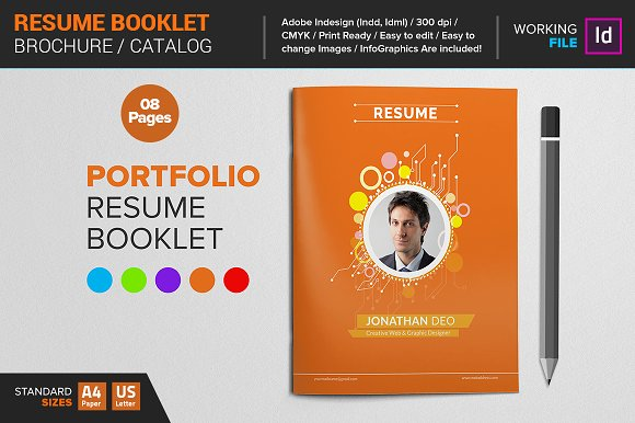 Resume Booklet Template Brochure Templates on Creative Market – Booklet Template