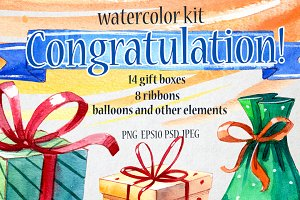 Congratulation set. Watercolor