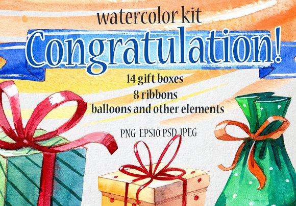 Congratulation set. Watercolor - Graphics