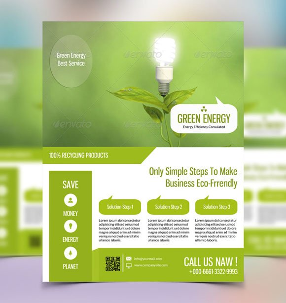 Green Energy Flyer Template V23 Flyer Templates Creative Market
