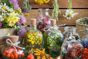Tincture and healthy herbs