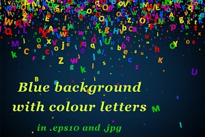 Blue background with colour letters