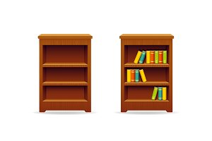 Library bookcase with books