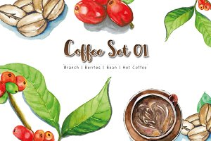 Coffee Set WaterColor
