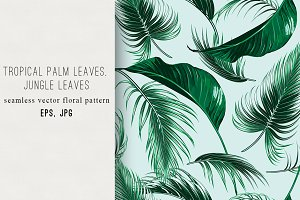 Palm leaves, jungle vector pattern