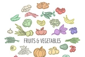 Fruit and vegetables doodles set