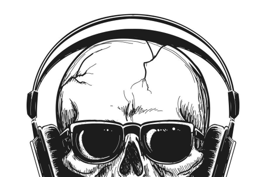 27cc82adca2 Human skull with headphones ~ Graphics ~ Creative Market