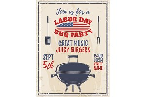 Vintage Labor Day Barbecue poster.