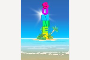 Summer 3D Letters Background