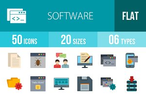 50 Software Flat Multicolor Icons