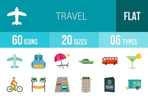 60 Travel Flat Multicolor Icons