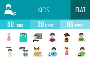50 Kids Flat Multicolor Icons