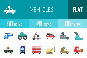 50 Vehicles Flat Multicolor Icons