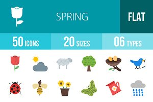 50 Spring Flat Multicolor Icons