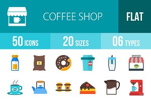 50 Coffee Shop Flat Multicolor Icons