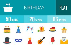 50 Birthday Flat Multicolor Icons