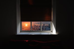 The window in the room. Winter