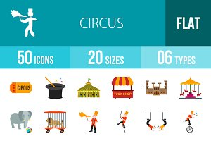 50 Circus Flat Multicolor Icons