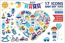 Children toys icons for little boy