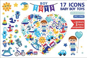 Children toys icons for little boy