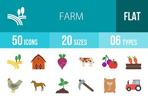 50 Farm Flat Multicolor Icons