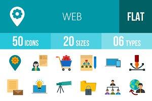 50 Web Flat Multicolor Icons