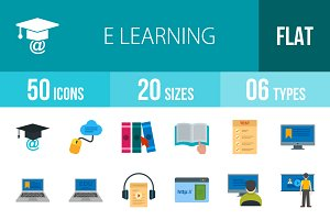 50 E Learning Flat Multicolor Icons
