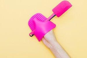 pink kitchen trowel