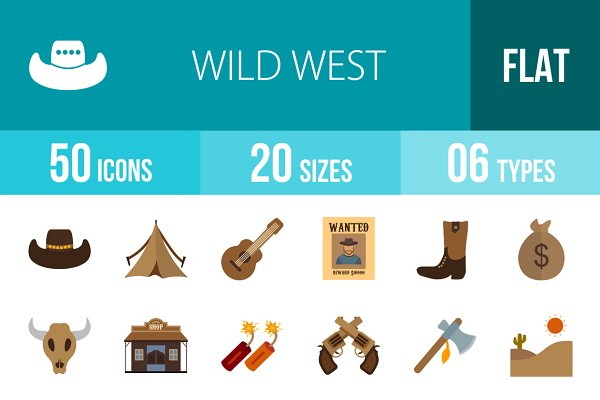 50 Wild West Flat Multicolor Icons