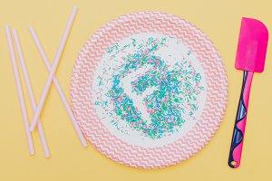 confetti on plate