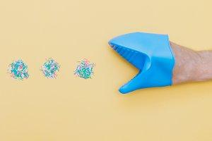 confetti rolls and glove