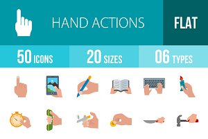 50 Hand Flat Multicolor Icons