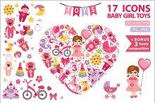 Children toys icons for little girl