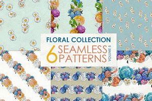 Watercolor rose patterns Vol 5