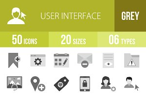 50 User Interface Greyscale Icons
