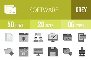 50 Software Greyscale Icons