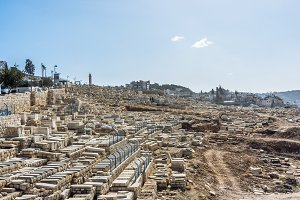 View on the famous Bible symbol - Mount of Olives on Old Jerusalem city, capital of Israel