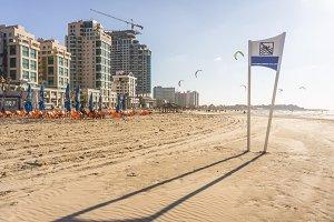 Beache view of Tel-Aviv city, Mediterranean sea. Israel